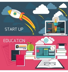 Concept for business start up and online education vector