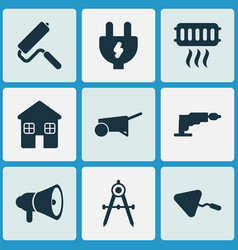 construction icons set with cushion builder vector image