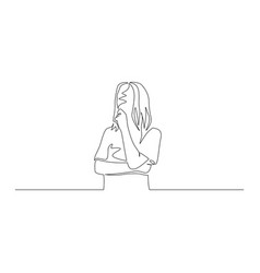 Continuous one line woman think about something vector