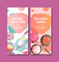 Cosmetic flyer design with brush on primer vector