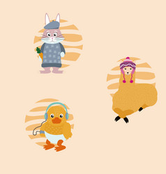 Cute animals cartoons vector