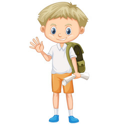 cute boy with backpack and paper vector image