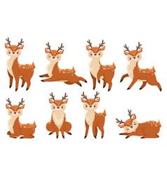 cute cartoon deer running reindeer wildlife fawn vector image