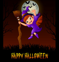 cute little witch holding a broom while giving thu vector image