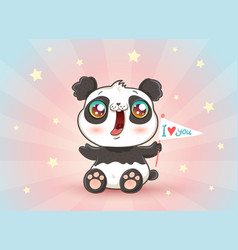 cute panda with flag vector image