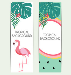 Cute summer abstract background with pink flamingo vector