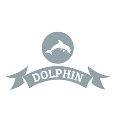 Dolphin logo simple gray style vector