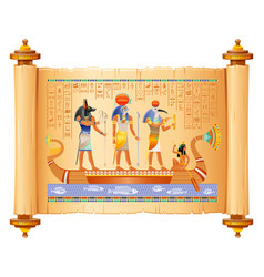 Egyptian papyrus with gods in boat anubis ra vector