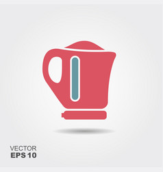 Electric kettle flat style icon vector