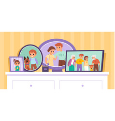 family photos cartoon pictures in frames vector image