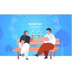 Fat obese couple sitting on wooden bench eating vector