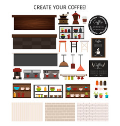Flat cafe interior elements set vector