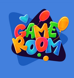 game room text banner placard for kids play area vector image