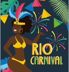Girl dancer with costume and fireworks to carnival vector