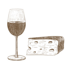 glass of wine and cheese vintage hand drawn vector image