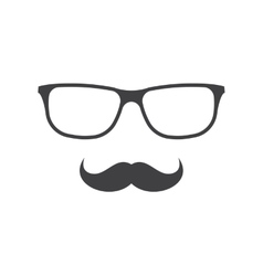 glasses and mustache icon in black over vector image