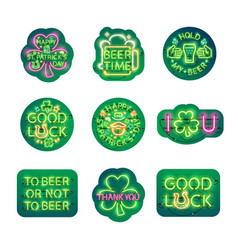 glowing neon patricks signs sticker pack vector image