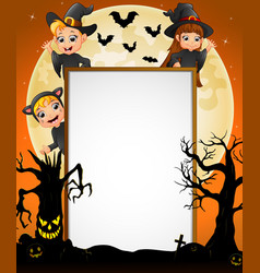 halloween sign with little boy witch and little gi vector image