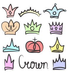 Hand drawn color crowns logo and icon design set vector