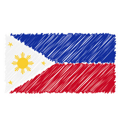hand drawn national flag of phillippines isolated vector image