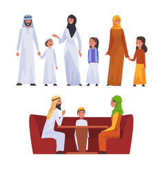 happy arab families in national clothes set vector image