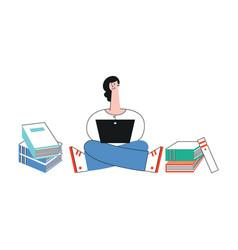 Happy teen girl student legs crossed laptop vector