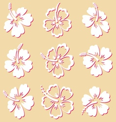 Hibiscus silhouette icons vector