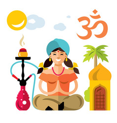 hindu woman with hookah flat style vector image