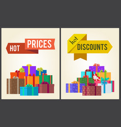 hot prices discounts clearance sale arrow labels vector image