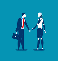 Human vs robotbusinessman standing with robot vector