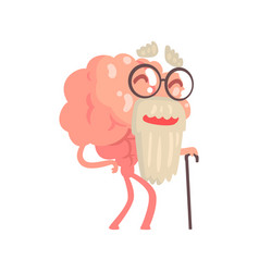 Humanized gray bearded old cartoon brain character vector