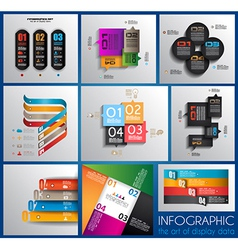 Infographic design templates collection with paper vector image