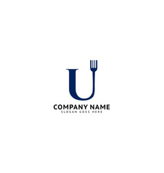 Initial letter u with fork for restaurant logo vector