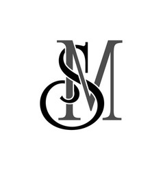initial letters sm monogram logo vector image