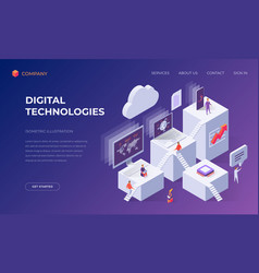 Landing page for computer digital technologies vector