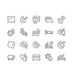 Line sleep icons vector