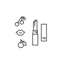 lipstick icon thin line art design vector image
