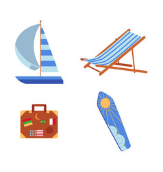 lounge chair yacht suitcase and surfboard icons vector image