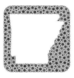 Map arkansas state - covid-2019 virus collage vector