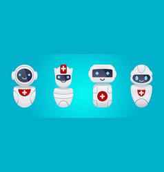 medical cute chat bot characters set vector image