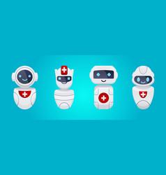 medical cute chat bot characters set vector image