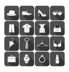 Men and women clothes accessories icons vector