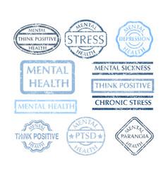 mental disorder stamps set vector image