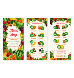 Menu price template of fruit shop or market vector