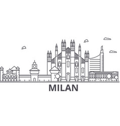 Milan architecture line skyline vector