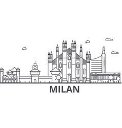 milan architecture line skyline vector image