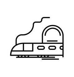 mountain train line icon concept sign outline vector image