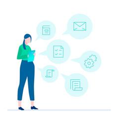 multitasking - flat design style vector image