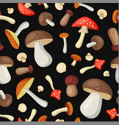 mushrooms seamless pattern on dark background vector image