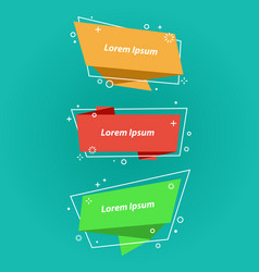 origami style speech bubblesbannersstickers vector image